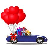 Cartoon cabriolet car full of gifts and bunch of balloons. Dark blue modern opened cartoon cabriolet car full of gifts and bunch of red helium heart shaped Royalty Free Stock Photo