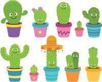 Cartoon Cactus Clipart. Set of Cute Cartoon Cactus Clipart royalty free illustration