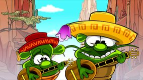 Cartoon cactus in a Mexican hat play stringed musical instruments on the background of rocks. Cartoon cactus in a Mexican hat play stringed musical instruments stock footage