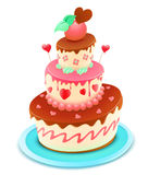 Cartoon cake. Vector illustration of a romantic tiered cake decorated with flowers and funky hearts Stock Photography