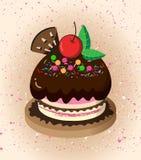 Cartoon cake. A beautiful cake on a white background royalty free illustration