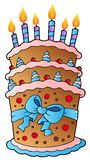 Cartoon cake with big ribbon Royalty Free Stock Images
