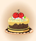 Cartoon cake. Birthday cake with chocolate creme and burning candles vector illustration