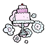 Cartoon cake on cakestand Royalty Free Stock Photo