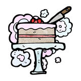 Cartoon cake on cakestand Stock Photography