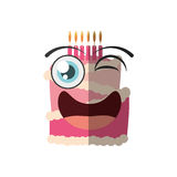 Cartoon cake candle sweet wink. Illustration eps 10 Stock Image