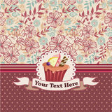 Cartoon cake card. Vector drawing stock illustration