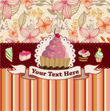 Cartoon cake card Royalty Free Stock Photos