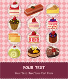 Cartoon cake card Royalty Free Stock Image