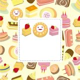 Cartoon cake card Stock Photography