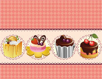 Cartoon cake card Royalty Free Stock Images