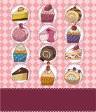 Cartoon cake card. Drawing stock illustration