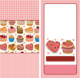Cartoon cake card Royalty Free Stock Images