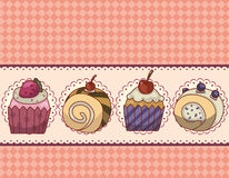 Cartoon cake card. Illustration stock illustration