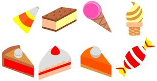Cartoon cake color doodle ice cream icon pack set cafe stock illustration