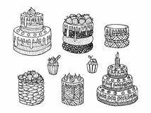 Cartoon cake. Doodle - black and white vector illustration.   Royalty Free Stock Photos