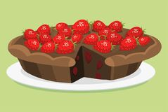Cartoon cake fresh tasty dessert sweet pastry pie vector illustration gourmet homemade delicious Stock Image