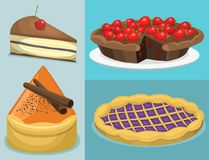 Cartoon cake fresh tasty dessert sweet pastry pie vector illustration gourmet homemade delicious. Cartoon cake fresh tasty dessert sweet pastry pie vector Stock Image