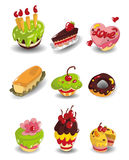 Cartoon cake icons set. Drawing stock illustration