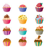 Cartoon cake icons set Stock Photos