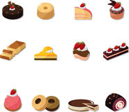 Cartoon cake icons set Royalty Free Stock Photography