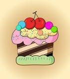 Cartoon cake. Illustration of an isolated cupcake stock illustration
