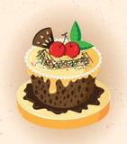 Cartoon cake. Illustration of an isolated cupcake Royalty Free Stock Image