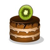 Cartoon cake with piece of kiwi Royalty Free Stock Image