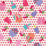 Cartoon cake Seamless Dessert Pattern Royalty Free Stock Photos