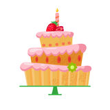 Cartoon cake with strawberries2-01. Beautiful bright cartoon cake with red strawberries,a candle and a flower.Three tiers.Tasty sweets with pink cream.Vector Royalty Free Stock Photography