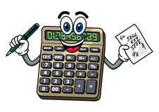 Cartoon calculator with pen and note Royalty Free Stock Photo