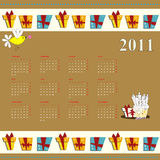 Cartoon calendar for 2011. Universal template for greeting card, web page, background Stock Photo