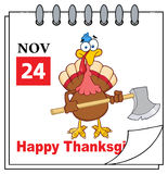 Cartoon Calendar Page With Turkey Bird Holding Axe Stock Photography