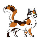 Cartoon calico cat. Vector illustration of a cartoon standing cute calico cat Stock Image