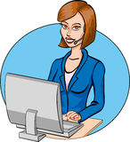 Cartoon call operator. Vector illustration. Royalty Free Stock Images