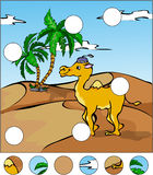 Cartoon camel in the desert. complete the puzzle and find the mi Royalty Free Stock Photography