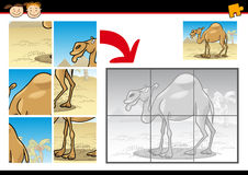 Cartoon camel jigsaw puzzle game Royalty Free Stock Photography
