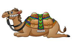 Cartoon camel with saddle Stock Images