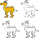 Cartoon camel. Vector illustration. Coloring and dot to dot game Royalty Free Stock Image