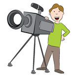 Cartoon Cameraman with Camera Stock Photography