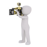 Cartoon Cameraman Filming with Camera. 3d Rendering of Cartoon Figure Filming with Motion Picture Camera in front of White Background with Copy Space Stock Image