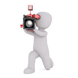 Cartoon Cameraman on Knees Filming with Camera. 3d Rendering of Cartoon Figure Filming on Knees with Motion Picture Camera in front of White Background with Copy Royalty Free Stock Photography