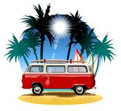 Cartoon Camper. Vector cartoon camper. Available eps-10 vector format separated by groups with transparency effects for one-click repaint Royalty Free Stock Image