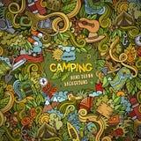 Cartoon Camping frame background. Cartoon vector doodles hand drawn Camping frame background Royalty Free Stock Photo