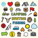 Cartoon camping icons Royalty Free Stock Photos