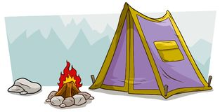 Cartoon camping tent and campfire against mountain. Cartoon violet camping tent with pocket, stone and campfire against blue mountains. Vector landscape stock illustration