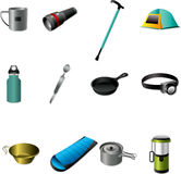 Cartoon Camping tools Royalty Free Stock Photos
