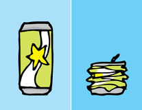 Cartoon can, before and after compacting Royalty Free Stock Images