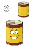 Cartoon can of tinned food with a happy smiling Stock Photos