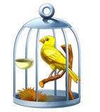 Cartoon canary in cage - isolated. Colorful and beautiful illustration for the children Royalty Free Stock Photo